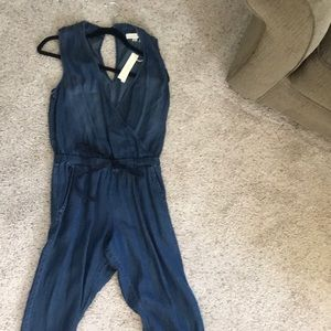 Love Stitch tensile chambray jumpsuit